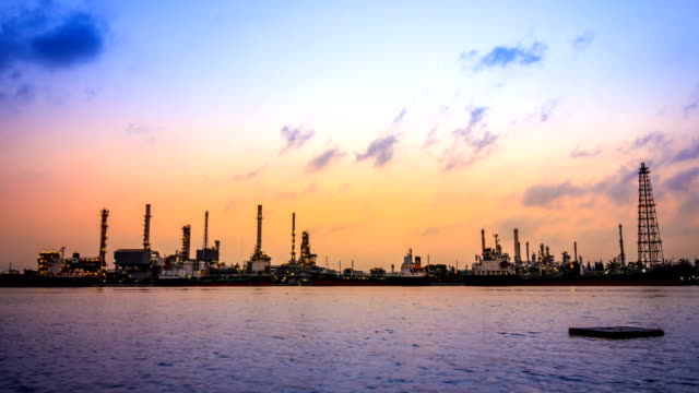 Bangchak Petroleum's oil refinery, beside the Chao Phraya River, Phra Khanong District, Bangkok, Thailand video