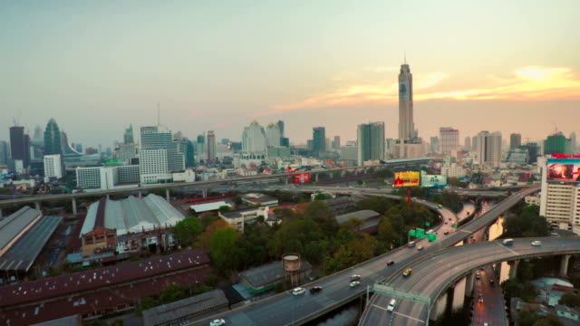 Bangkok aerial traffic skyline video