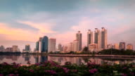 Bangkok CBD Skyscrapers Reflection BenchaKiti Park Lake Day-to-night Time-lapse video
