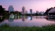 Bangkok CBD Skyscrapers Reflection Lumphini Lake Day-to-night Time-lapse video