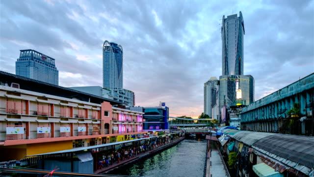 Bangkok City Area with Khlong Saen Saep Express Boat runs at a pier, Time-lapse. video