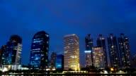 Bangkok city at night with reflection video