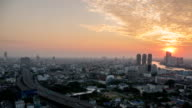 Bangkok City During Sunset : Day To dusk Time-Lapse video