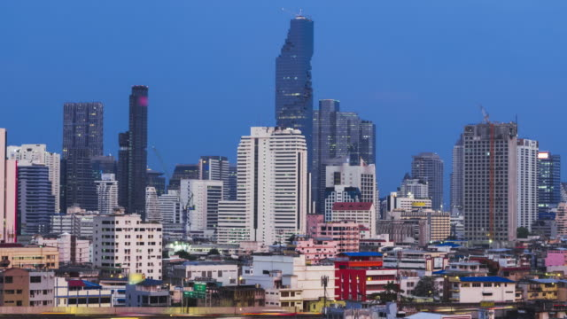 Bangkok city night skyline street aerial view. video