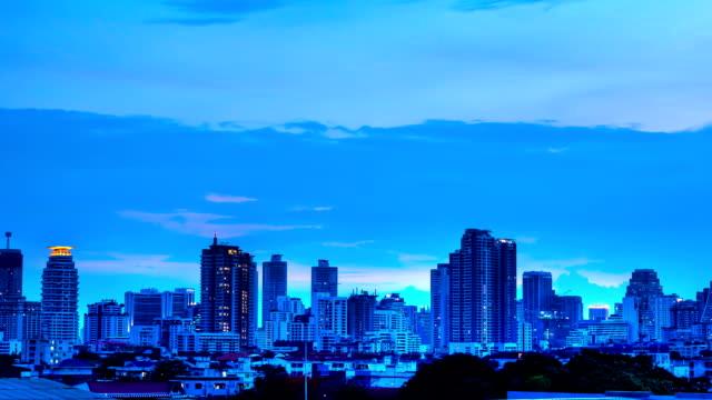 Bangkok city skyline day to night timelapse  with lightning video