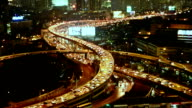 Bangkok City Traffic at night or Twilight, Aerial view of Expressway or Autobahn in Thailand. video