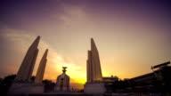 Bangkok Democracy Monument Day-to-night Motion Blur Traffic Time-lapse video