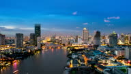 Bangkok downtown skyline river view timelapse day-night video