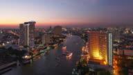 Bangkok downtown skyline river view video