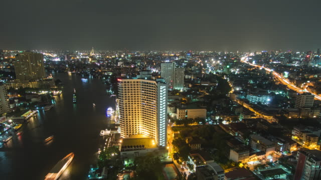Bangkok downtown skyline river view video