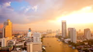 Bangkok Downtown Skylines along Chaophraya River sunset Time Lapse video