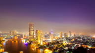 Bangkok Downtown Skylines along Chaophraya River Time Lapse sunset video