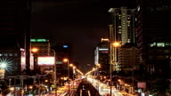 Bangkok Downtown Traffic at Night and Cityscape Time lapse video