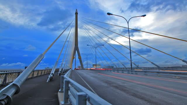 Bangkok Rama-VIII Bridge Time lapse from Day to Night video