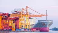 Bangkok Shipyard Port Terminal Working at Dusk Time Lapse video