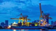 Bangkok Shipyard Port Terminal Working from dusk to night video
