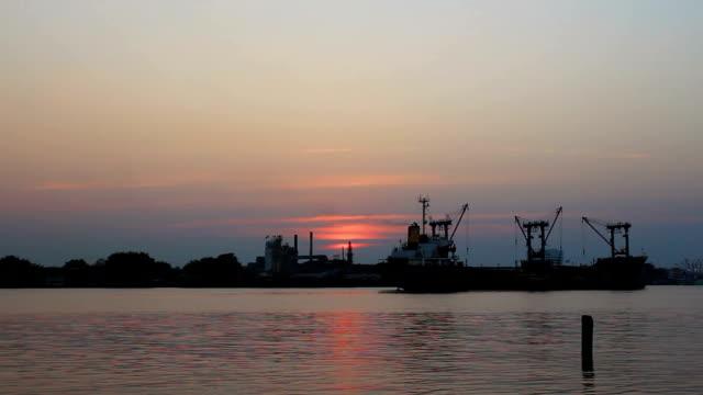 Bangkok Shipyard Working at Dusk Time Lapse video