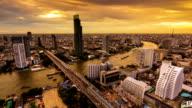 Bangkok Skylines along Chaophraya River at dusk,Day to night video
