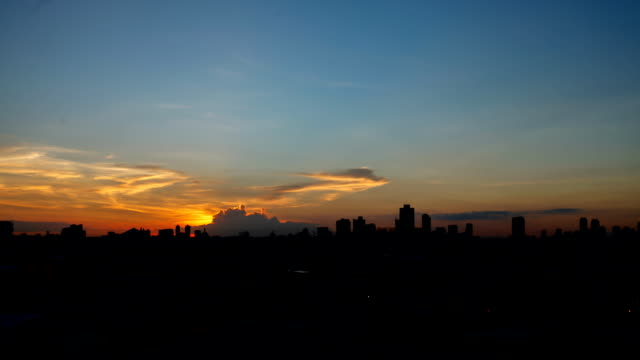 Bangkok sunset over city video