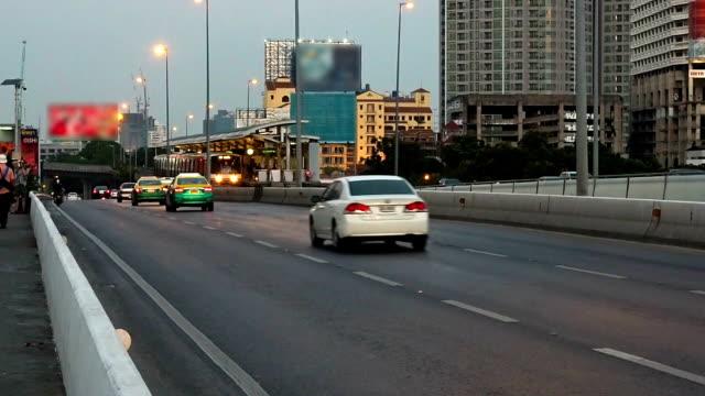 Bangkok traffic with sky train video