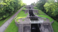 Bangles Five Rise Locks Aerial video