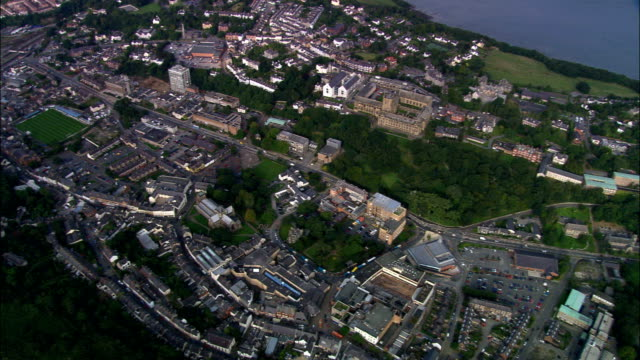 Bangor  - Aerial View - Wales, Caernarfonshire and Merionethshire, United Kingdom video