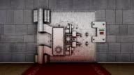 Bank vault door with chroma key video