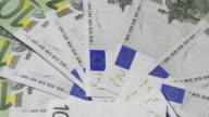 EU banknotes, 100 Euro bills, turning loop (HD720p) video