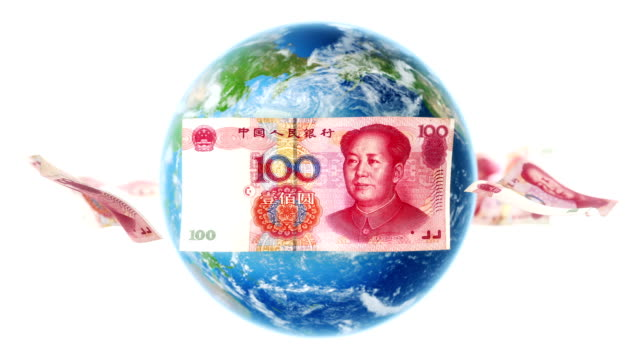 YUAN Banknotes Around Earth on White (Loop) video