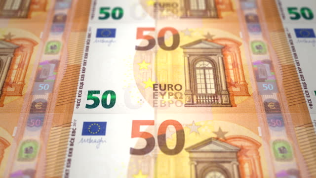 Banknotes fifty euros passing on screen video