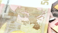 banknotes in denominations of 50 euros, closeup video
