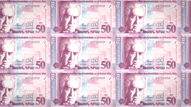 Banknotes of fifty armenian drams of Armenia rolling, cash money video