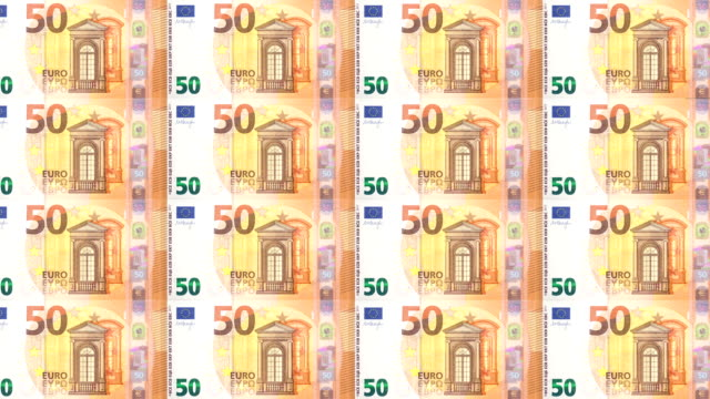 Banknotes of fifty euro passing on screen, cash money, seamless looping video