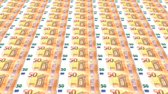 Banknotes of fifty euro passing on screen, looping video