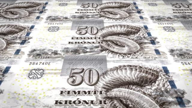 Banknotes of fifty faroese kronur of the Faroe Islands rolling, cash money, loop video