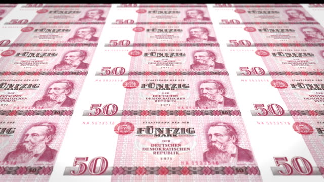 Banknotes of fifty german marks of the old German republic, cash money video