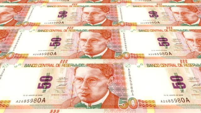 Banknotes of fifty peruvian soles of Peru, cash money, loop video