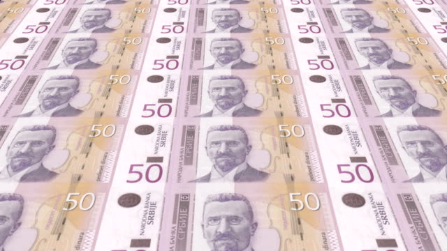Banknotes of fifty serbian dinars of Serbia, cash money, loop video