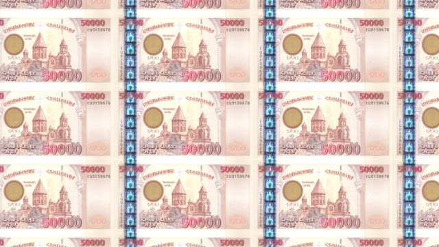 Banknotes of fifty thousand armenian drams of Armenia rolling, cash money video