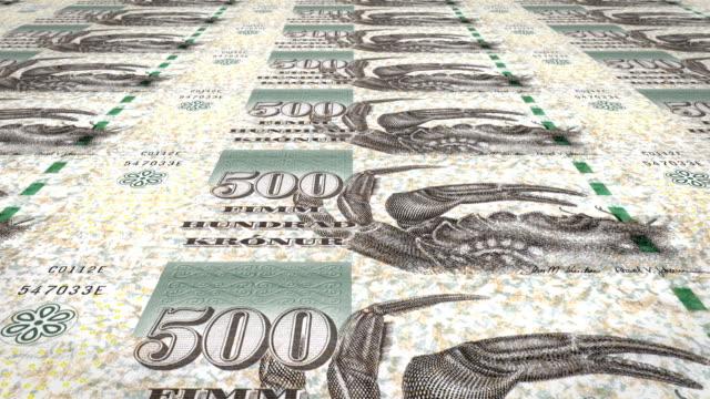 Banknotes of five hundred faroese kronur of the Faroe Islands, cash money, loop video