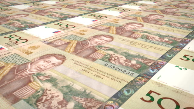 Banknotes of five hundred Haitian gourdes of Haiti, cash money, loop video