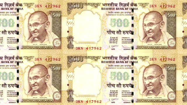 Banknotes of five hundred indian rupees of India rolling, cash money, loop video