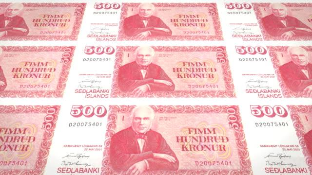 Banknotes of five hundred kroner or crowns of iceland rolling, cash money video