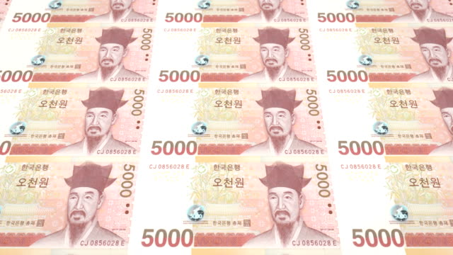 Banknotes of five thousand wons of South Korea rolling, cash money, loop video