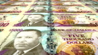 Banknotes of fivethousand jamaican dollars of the bank of Jamaica rolling on screen, coins of the world, cash money, loop video