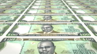 Banknotes of one hundred dollars of the bank of Liberia rolling on screen, coins of the world, cash money, loop video