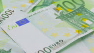 Banknotes of one hundred euro video