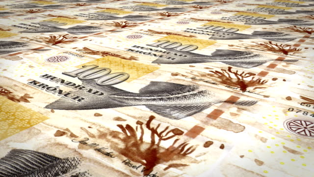Banknotes of one hundred faroese kronur of the Faroe Islands, cash money, loop video