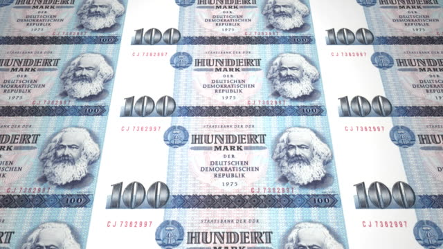 Banknotes of one hundred german marks of the old German republic, cash money video