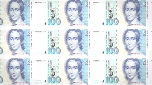 Banknotes of one hundred german marks of the West Germany rolling, cash money video